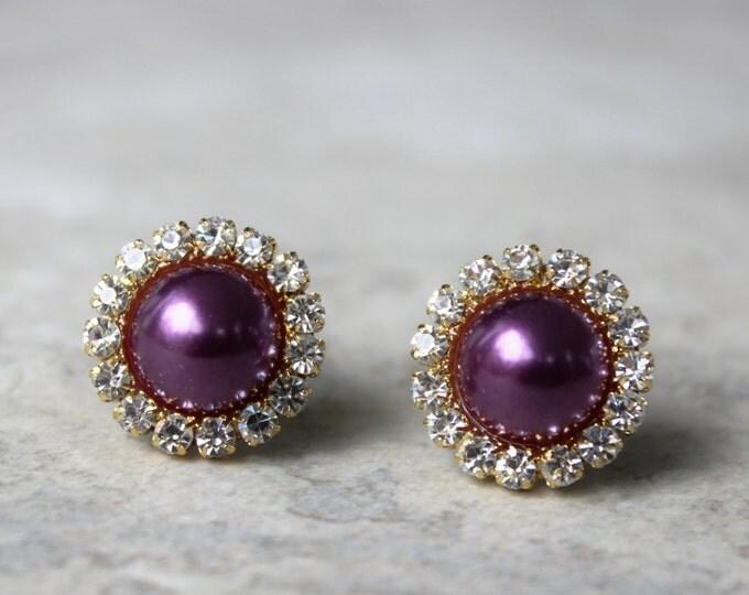 Aubergine Earrings, Aubergine Jewelry, Purple Pearl Earrings, Eggplant, Purple Jewelry, Purple and Gold Earrings, Eggplant Wedding Jewelry