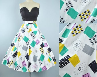 RESERVED 50s Circle Skirt / 1950s NOVELTY Print Mid Century Playing Card Domino DIAMOND Harlequin Star Cotton Pinup High Waist 27 27.5 Small