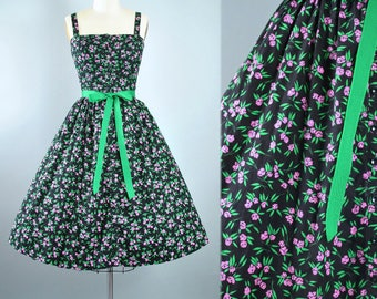 Vintage 60s 70s LANZ Dress / 1950s Style Black Cotton Belted Sundress Floral Pink Green Print Full Skirt Garden Picnic Party Pinup Small