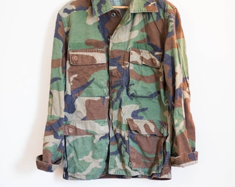 camo army utility cargo jacket - forest green hipster coat parka - size small
