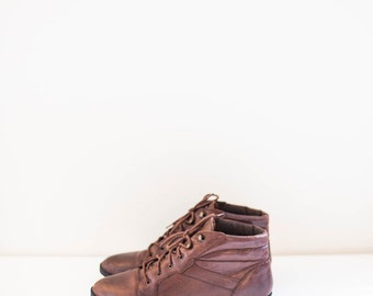 brown leather lace and hook ankle boots - women's size 6.5 - 7 - leather booties