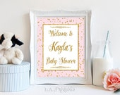 Personalized Baby Shower Welcome Sign, Pink and Gold Glitter Confetti Sign, Baby Girl, DIY PRINTABLE