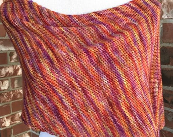 Hand Knit Capelet Shawl Poncho - Summer Wrap, Prayer Shawl, Scarf Mothers Day Gift
