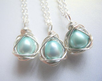 Set of Three, Bird Nest Jewelry, Robin's Egg Blue Colored Cultured Freshwater Pearl Eggs in Wire Wrapped Silver Nest Necklaces