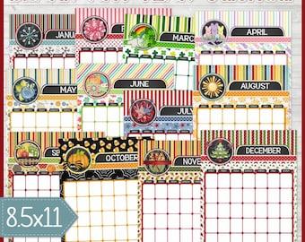 BLANK Desk Calendar, Wall Calendar, Printable Monthly Calendar, Any Year, Decorative Clipboard ...