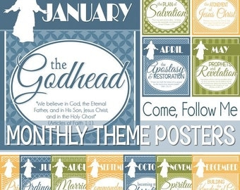 2017 Come Follow Me Monthly POSTERS - LDS Youth, Young Women, YW - Printable Instant Download