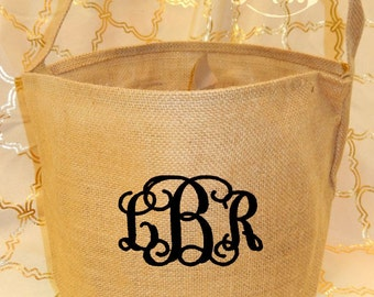 Burlap Tote Bag Bucket with Embroidered Monogram Personalized Boy or Girl Halloween Trick or Treat