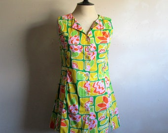 Vintage 1960s Cotton Tunic Green Yellow Citrus 60s Floral Print Resort Cover Up Long Top Medium