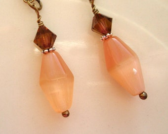 Salmon Cats Eye Beads with Topaz Crystal Earrings