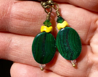 Malachite Earrings, Green Earrings, Dark Swarovski Green Earrings