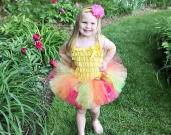 Girls Summer Tropical Birthday Tutu with Polka Dot Layered Bow...Hot Pink Orange Yellow Lime Tutu...Hawaiian Birthday tutu...TUTTI FRUTTI