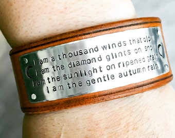 Invisible Rivet Custom Leather Cuff, Personalized leather cuff bracelet Custom metal stamped Leather cuff Poem Mantra Memorial Bracelet Cuff
