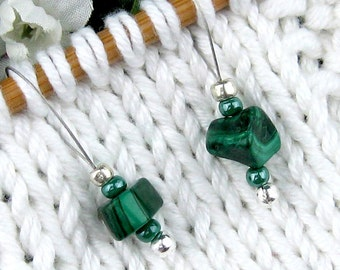 Stitch Markers, Knitting, Malachite, Semi-Precious Stones, Brilliant Green, Snag Free, Knitting Tool, Knitting Accessory, Gift for Knitters