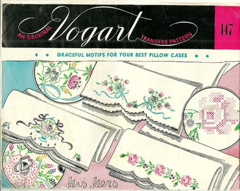 Vintage Vogart Transfer Pattern 147 Florals His Hers Pillowcase Embroidery
