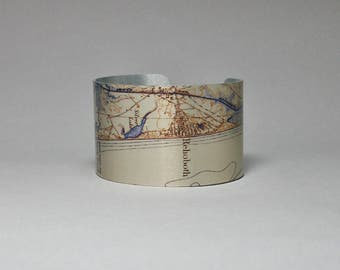 Delaware Rehoboth Dewey Beach Vintage Map Cuff Bracelet Unique Gift for Men or Women