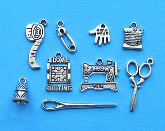 Quilting Charm Collection Antique Silver Tone 9 Different Charms - COL003