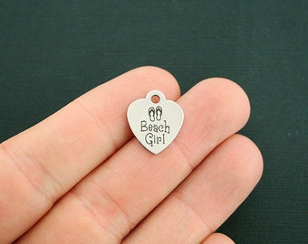 Beach Girl Stainless Steel Charms - Smaller Size Heart - Exclusive Line - Quantity Options - BFS1806