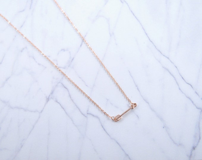 Arrow Rose Gold Vermeil Charm Necklace, Simple Everyday Necklace, Sideways Arrow, Valentine's Day Gift, Girlfriend Gift, Wife Gift, Mom Gift