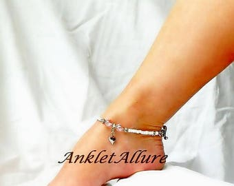 Heart Anklet Stainless Steel Ankle Bracelet Heart Jewelry Pink Anklet