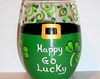 Shamrocks Happy Go Lucky St. Patrick's Day Hand Painted Set of 1 - 21 oz. Stemless Wine Glasses Kelly Green Lime Green St. Paddy's Day