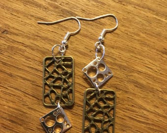 Earrings, whimsical one-of-a-kind, copper, brass, silver