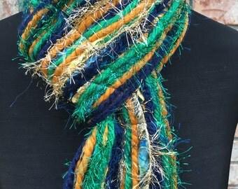 Notre Dame Fighting Irish Inspired Skinny Scrappy Scarf - Blue, Gold & Green - Handmade
