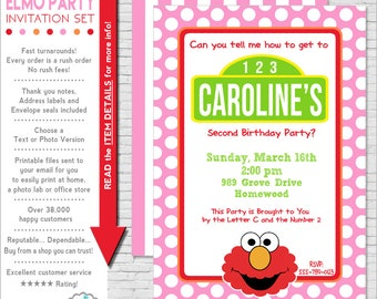 Elmo Invitation | Elmo Birthday Invitation | Girl Elmo Party Invitation Printable | Sesame Street Invitation | Amanda's Parties To Go