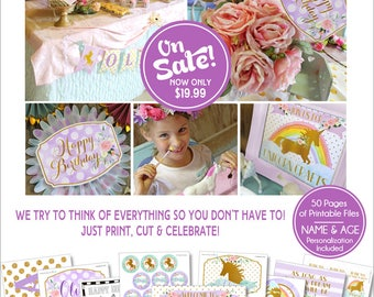 Unicorn Birthday Party | Unicorn Party | Unicorn Birthday Decorations | Unicorn Party Printables | Rainbow Birthday | Amanda's Parties To Go
