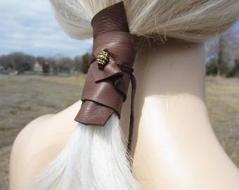 Hair Jewelry Ponytail Holder Beaded Hair Tie Brown Genuine Leather Wrap Pony Tail Cuff BOHO  Style Z2010