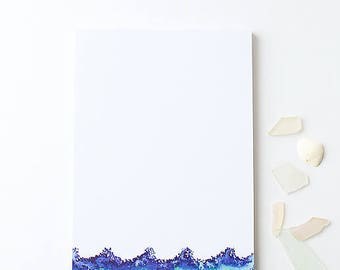 Stationery Notepad | Large Illustrated Notepad | Waves | Nautical Stationery