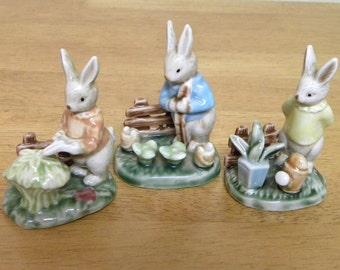 Vintage Rabbit Ornament 1960's - Rabbit Gardening