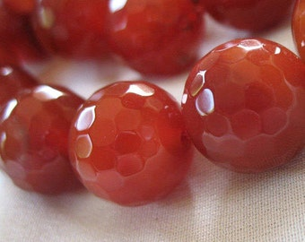 """14mm Carnelian Beads, Large Micro Faceted Round, Semi-Translucent, Red Agate, 14mm, full 14"""" strand, 28 large beads"""