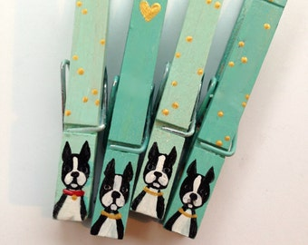 BOSTON TERRIER CLOTHESPINS hand painted magnetic pegs aqua and gold