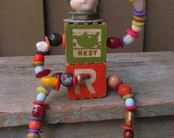 OOAK Steampunk Wooden Baby Block Doll / Frozen Charlotte Assemblage Art Doll