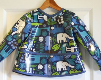Toddler Long Sleeved Art Smock Baby Bib in Navy with Jungle Animals