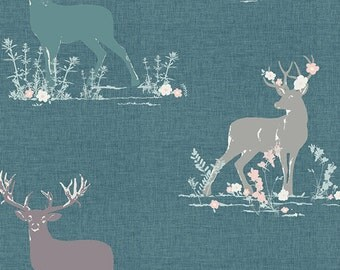 Dear Deer in Teal  (bli-75602) - BLITHE by Katarina Roccella - Art Gallery Fabrics -  By the Yard