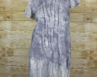 Shades of gray Dress, Nuno felted dress, OOAK wool Art to Wear dress, Silk dress, Original unique ,