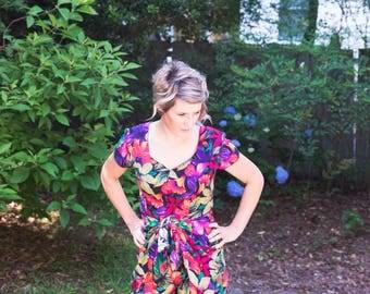 1990s Vintage Floral Romper/ One piece/ Jumpsuit