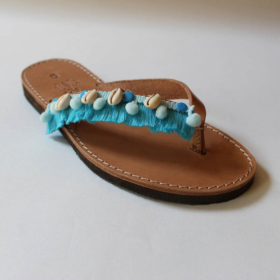 SALE! SIZE 38-39 US 7-8.5 Greek sandals, leather sandals, beach shoes, leather slides, boho sandals, women's sandals,shell slides,