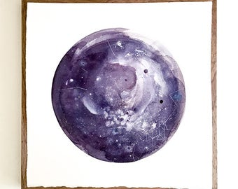 Watercolor Moon Print. Aries Moon Wall Art. Moon Poster. Purple New Moon. Anniversary Gift for her. Celestial Watercolor Galaxy Moon. Luna.