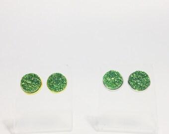 The Druzy Post Earrings in Green | Kelly Green Druzy Earrings | Kelly Green Stud Earrings | Green Druzy Jewelry | Druzy Jewelry