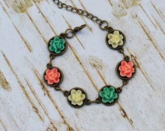 SALE - Salmon Mint Green Ivory Flower Bracelet, Vintage Style Bracelet, Gift For Her