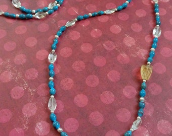 Long Blue Beaded Necklace with Faceted Citrine Gemstones and Sterling Silver Accent Beads