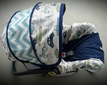Baby Boy seat cover/ Retro Cars with Chevron accents and navy minky - Infant car seat cover - Custom order