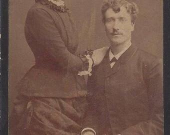 Vintage Man & Woman Carte de Visite (CDV) Rudolph Sammlands Stockholm, 1800s