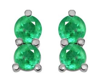 14K Emerald Earrings Yellow Gold, 2 Stones Emerald Earrings White Gold, Emerald Post Earrings, Petite Emerald Earrings, Emerald Studs