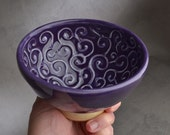 Shaving Bowl Ready To Ship Purple No Recess Curls Lather Shave Bowl by Symmetrical Pottery