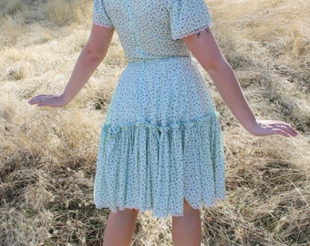 APPLE BLOSSOM 1960's Vintage Novelty Kitchy Circle Skirt Line Dance Dress