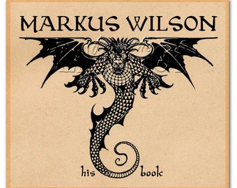 The Dragon - Vintage Art - Adhesive Bookplate - Open Winged Dragon - Personalized Gift