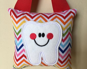 Tooth Fairy Pillow - Rainbow Chevron Pillow with Red Ribbon - Kids Pillow - Kids Gift